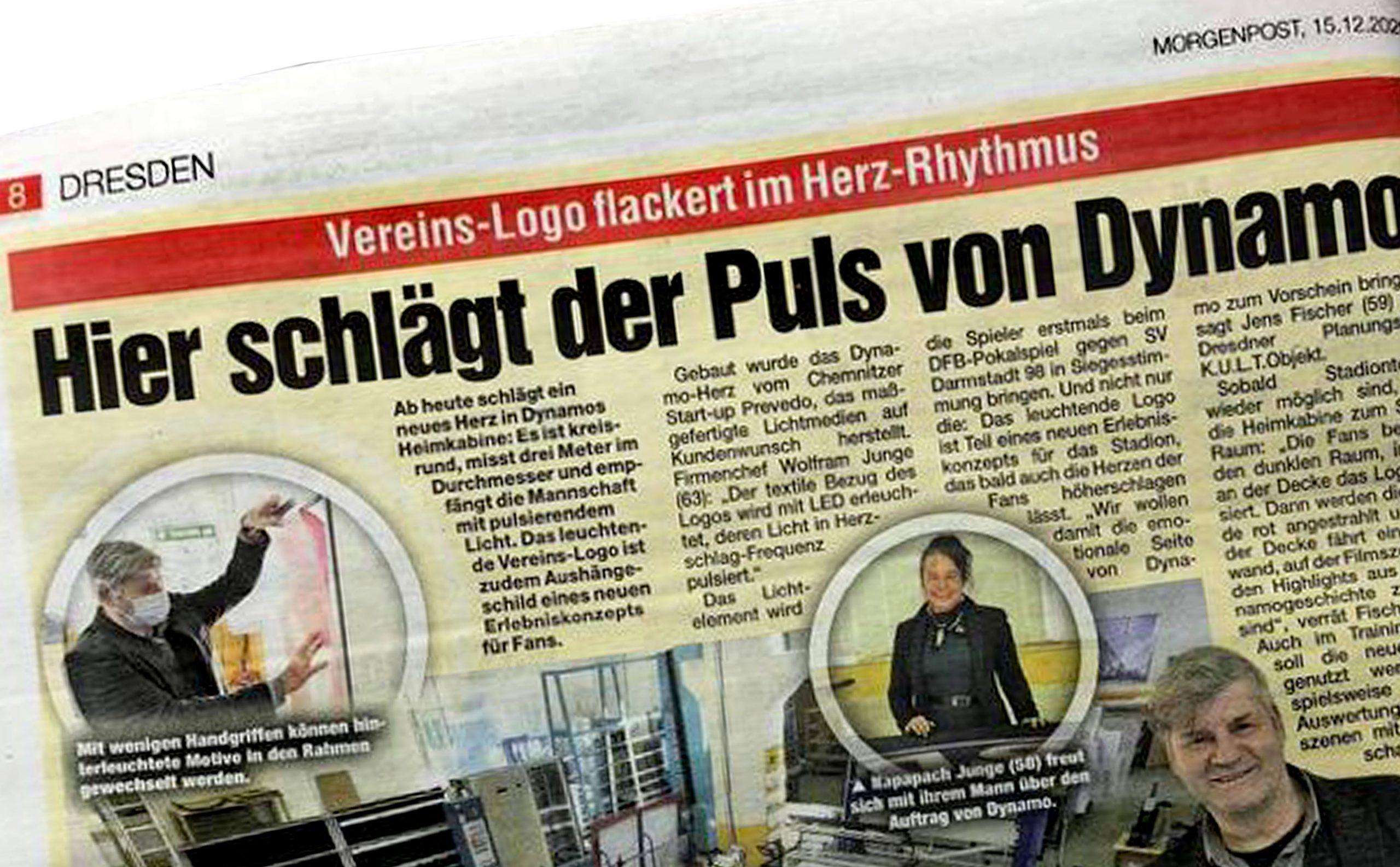 Artikel in der Morgenpost Dresden zu Dynamo